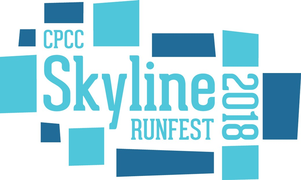 blue text reading CPCC Skyline Runfest 2018 surrounded by blocks of light and dark blue