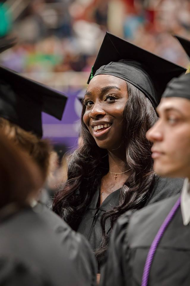 Female graduate at 2018 Central Piedmont graduation ceremony